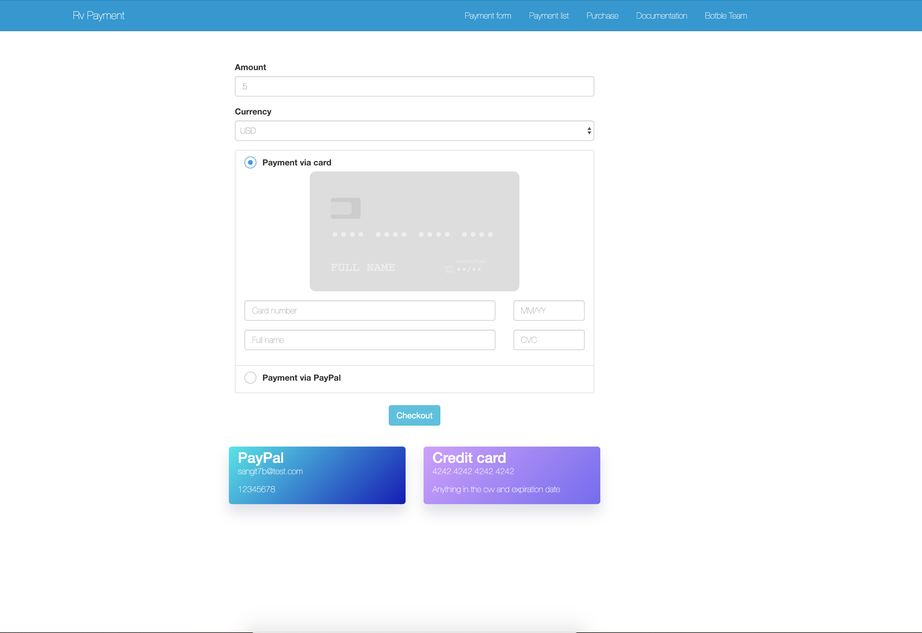 RvPayment - Laravel payment package with Stripe & PayPal - 2